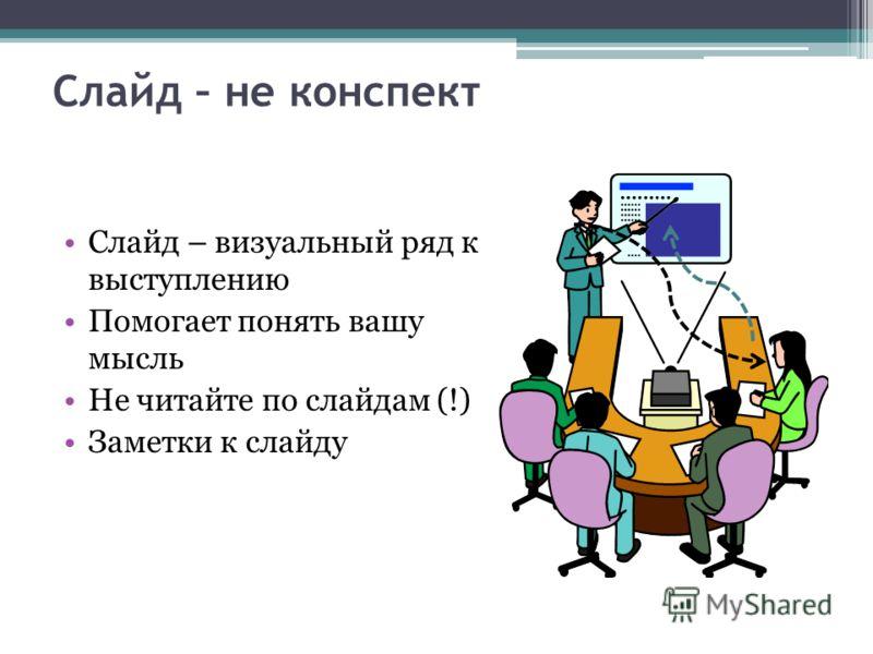 Слайд – не конспект Слайд – визуальный ряд к выступлению Помогает понять вашу мысль Не читайте по слайдам (!) Заметки к слайду