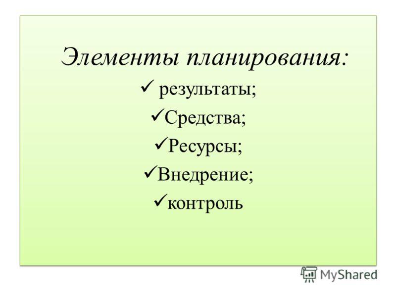 Элементы планирования: результаты; Средства; Ресурсы; Внедрение; контроль Элементы планирования: результаты; Средства; Ресурсы; Внедрение; контроль
