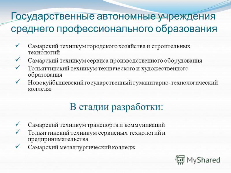Государственные автономные учреждения среднего профессионального образования Самарский техникум городского хозяйства и строительных технологий Самарский техникум сервиса производственного оборудования Тольяттинский техникум технического и художествен