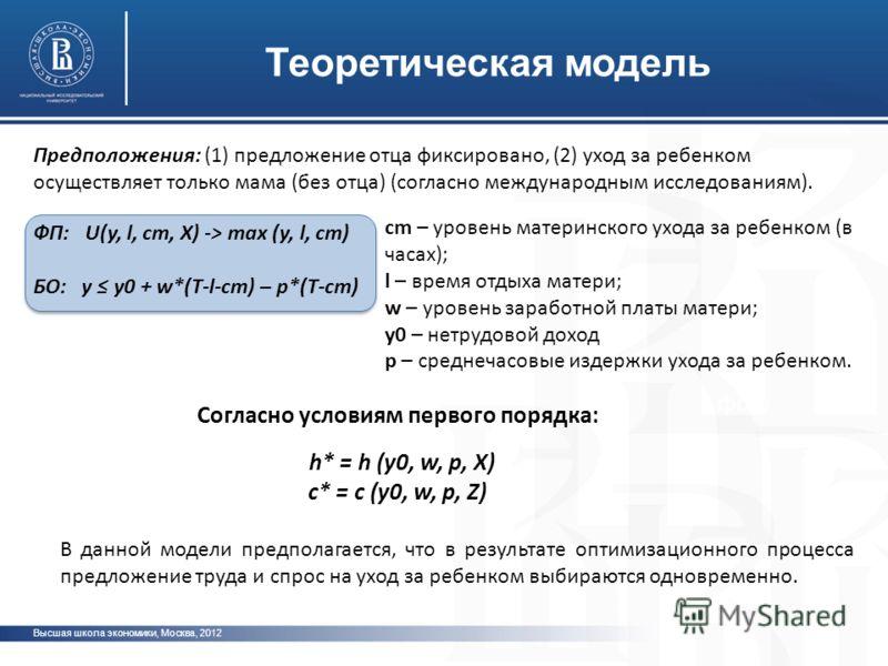 Высшая школа экономики, Москва, 2012 фото Теоретическая модель ФП: U(y, l, cm, X) -> max (y, l, cm) БО: y y0 + w*(T-l-cm) – p*(T-cm) сm – уровень материнского ухода за ребенком (в часах); l – время отдыха матери; w – уровень заработной платы матери;