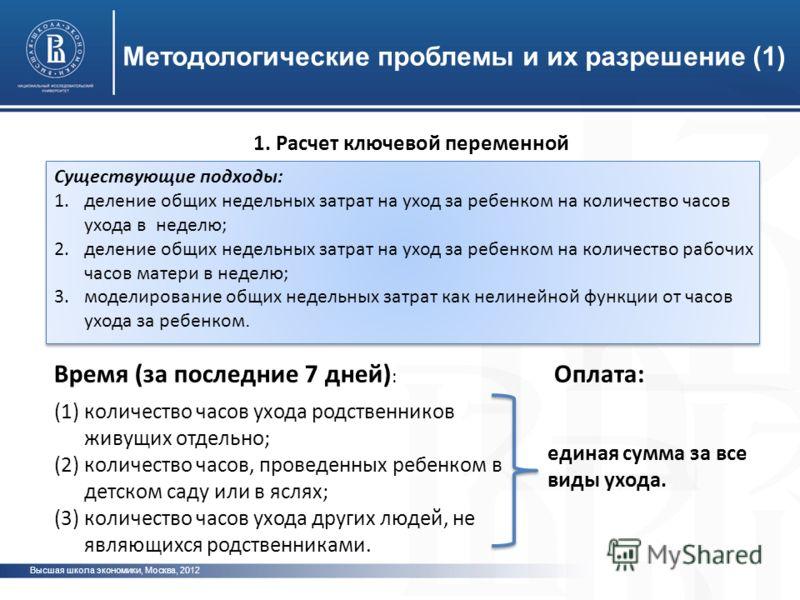 Высшая школа экономики, Москва, 2012 Методологические проблемы и их разрешение (1) 1. Расчет ключевой переменной Существующие подходы: 1.деление общих недельных затрат на уход за ребенком на количество часов ухода в неделю; 2.деление общих недельных