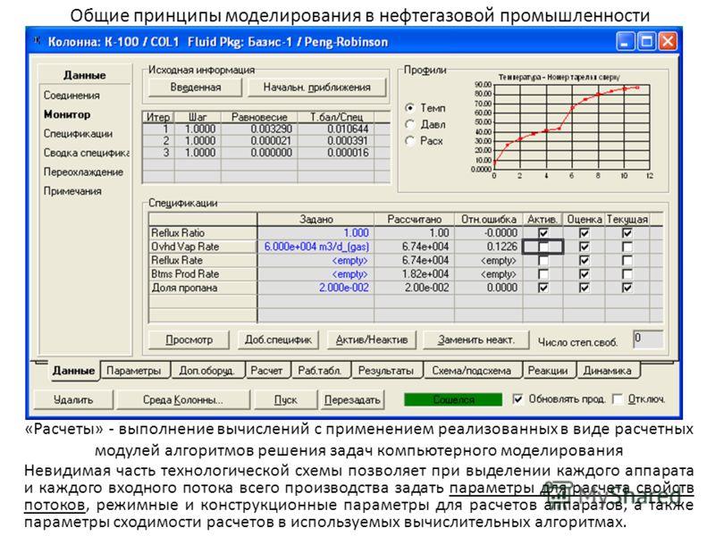Общие принципы моделирования в нефтегазовой промышленности «Расчеты» - выполнение вычислений с применением реализованных в виде расчетных модулей алгоритмов решения задач компьютерного моделирования Невидимая часть технологической схемы позволяет при