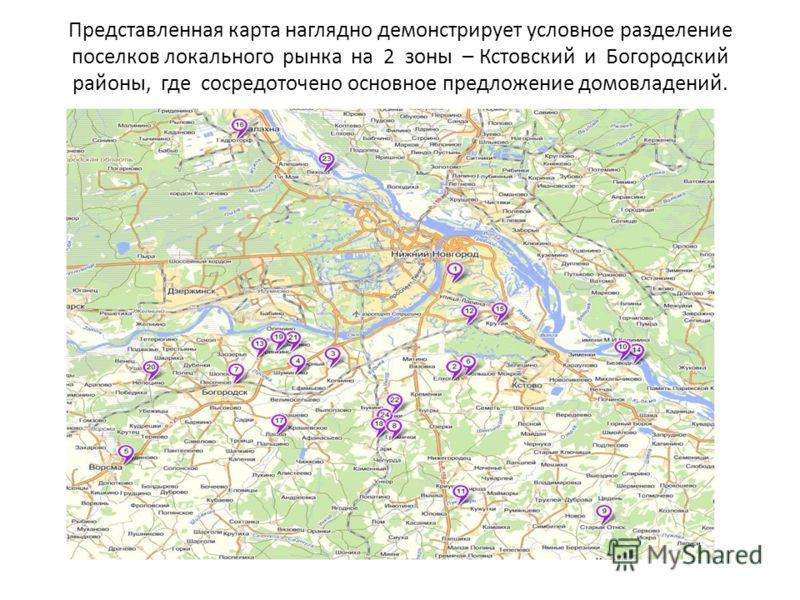 Представленная карта наглядно демонстрирует условное разделение поселков локального рынка на 2 зоны – Кстовский и Богородский районы, где сосредоточено основное предложение домовладений.