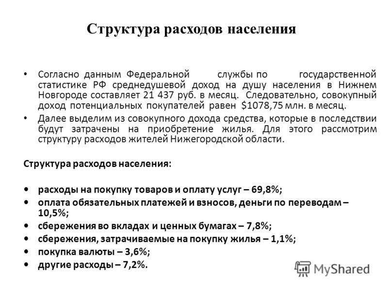 Структура расходов населения Согласно данным Федеральнойслужбыпо государственной статистике РФ среднедушевой доход на душу населения в Нижнем Новгороде составляет 21 437 руб. в месяц. Следовательно, совокупный доход потенциальных покупателей равен $1
