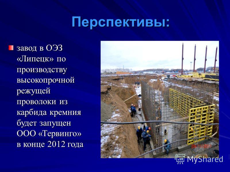 Перспективы: завод в ОЭЗ «Липецк» по производству высокопрочной режущей проволоки из карбида кремния будет запущен ООО «Тервинго» в конце 2012 года