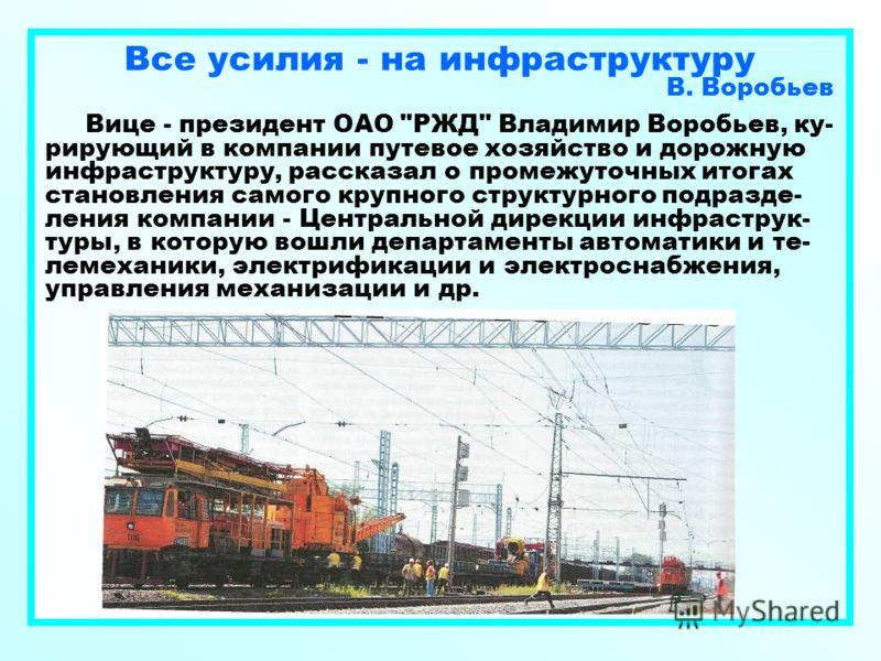 Все усилия - на инфраструктуру В. Воробьев Вице - президент ОАО