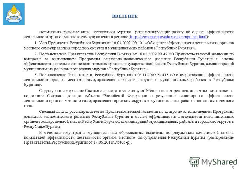 ВВЕДЕНИЕ Нормативно-правовые акты Республики Бурятия регламентирующие работу по оценке эффективности деятельности органов местного самоуправления в регионе (http://economy.buryatia.ru/econ/npa_siu.html):http://economy.buryatia.ru/econ/npa_siu.html 1.