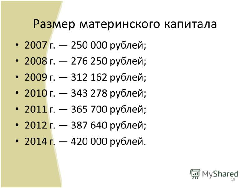 Размер материнского капитала 2007 г. 250 000 рублей; 2008 г. 276 250 рублей; 2009 г. 312 162 рублей; 2010 г. 343 278 рублей; 2011 г. 365 700 рублей; 2012 г. 387 640 рублей; 2014 г. 420 000 рублей. 18