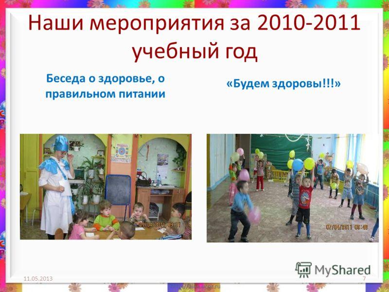 Наши мероприятия за 2010-2011 учебный год Беседа о здоровье, о правильном питании «Будем здоровы!!!» 11.05.20137