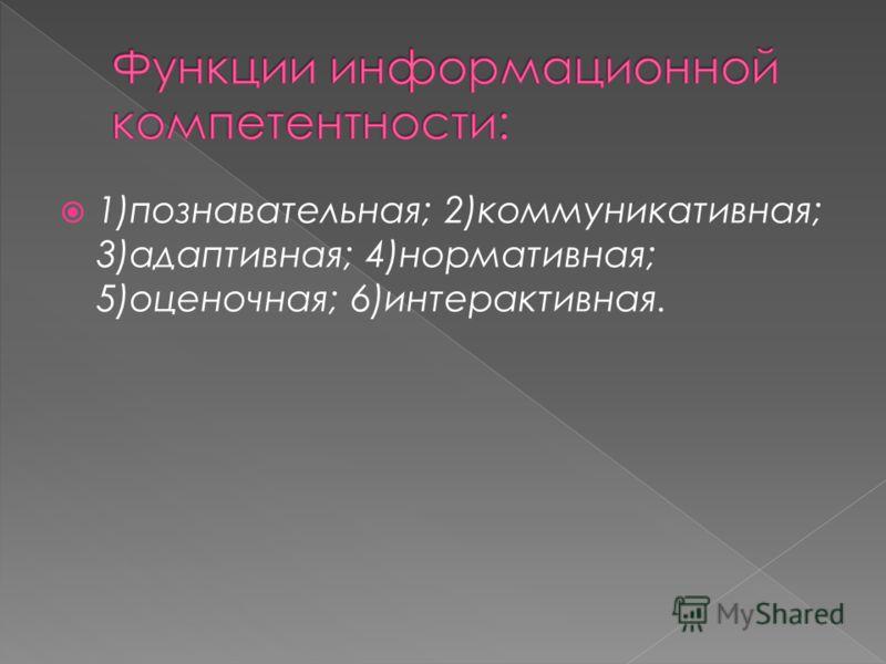 1)познавательная; 2)коммуникативная; 3)адаптивная; 4)нормативная; 5)оценочная; 6)интерактивная.
