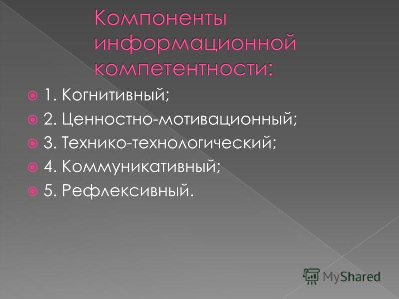 1. Когнитивный; 2. Ценностно-мотивационный; 3. Технико-технологический; 4. Коммуникативный; 5. Рефлексивный.