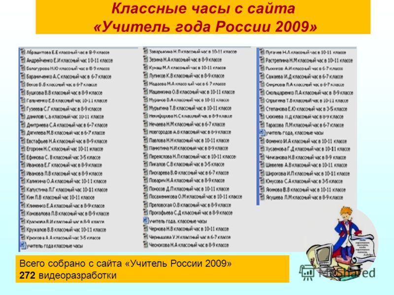 Классные часы с сайта «Учитель года России 2009» Всего собрано с сайта «Учитель России 2009» 272 видеоразработки