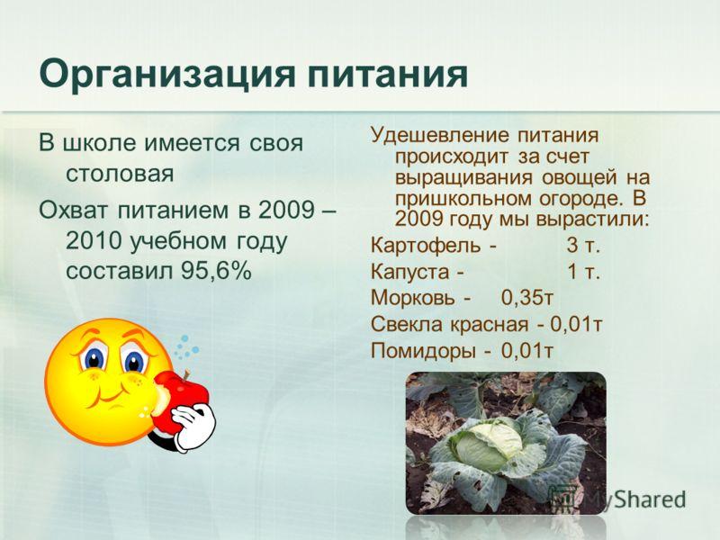 Организация питания В школе имеется своя столовая Охват питанием в 2009 – 2010 учебном году составил 95,6% Удешевление питания происходит за счет выращивания овощей на пришкольном огороде. В 2009 году мы вырастили: Картофель - 3 т. Капуста - 1 т. Мор