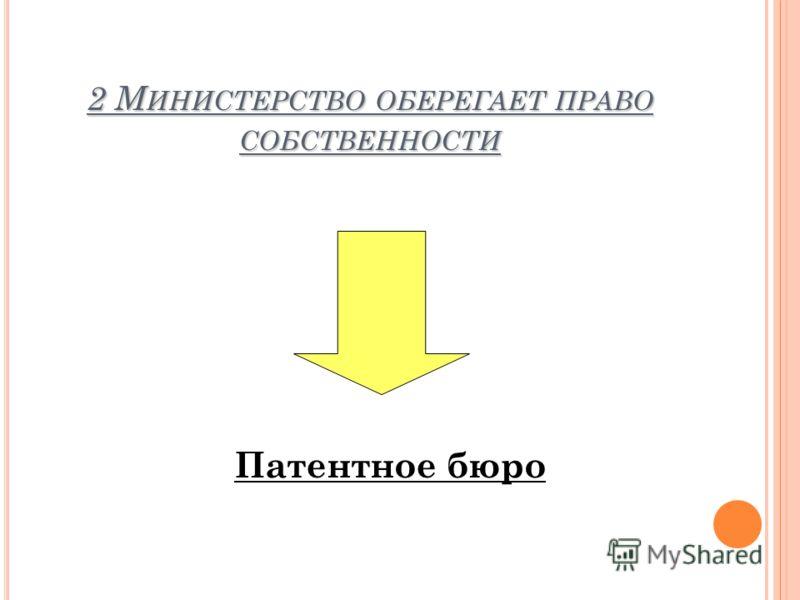 2 М ИНИСТЕРСТВО ОБЕРЕГАЕТ ПРАВО СОБСТВЕННОСТИ Патентное бюро