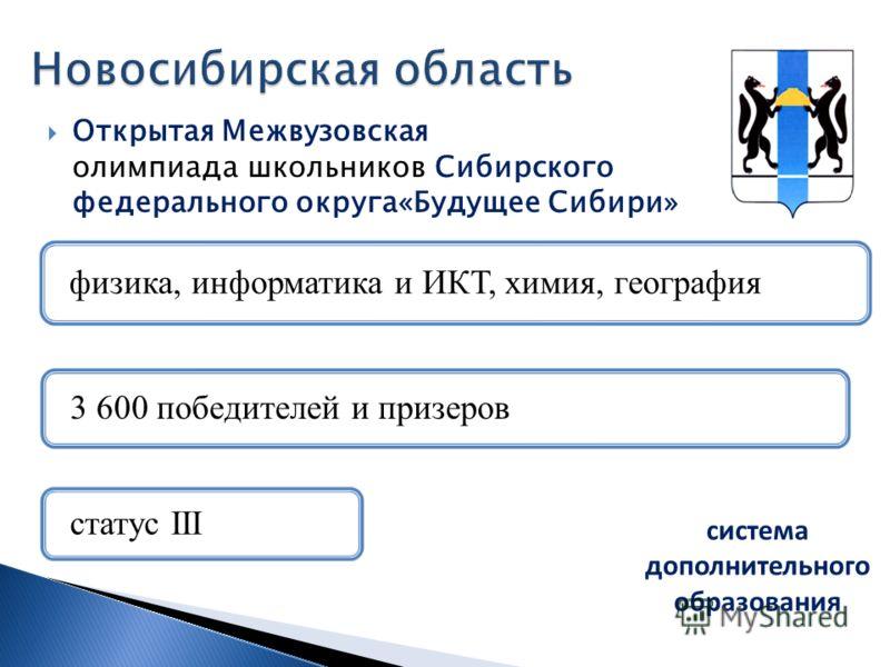 Открытая Межвузовская олимпиада школьников Сибирского федерального округа«Будущее Сибири» система дополнительного образования
