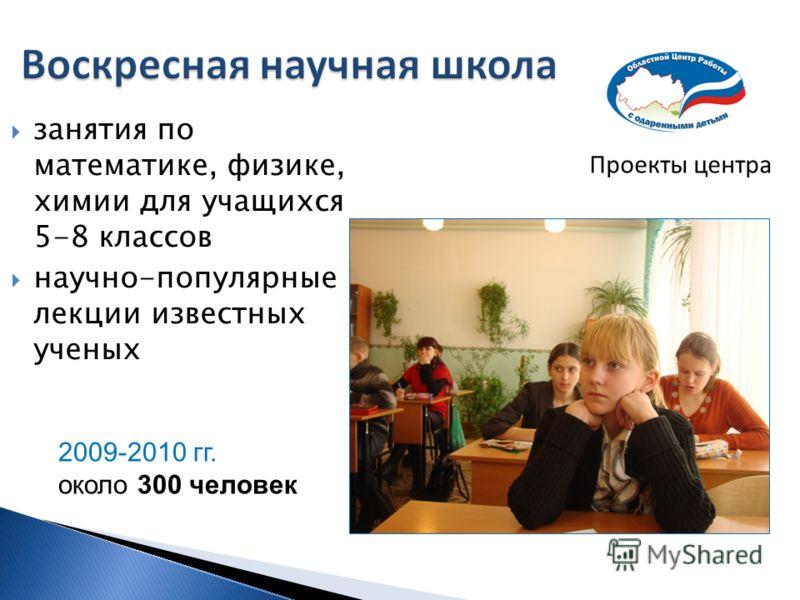 Проекты центра занятия по математике, физике, химии для учащихся 5-8 классов научно-популярные лекции известных ученых 2009-2010 гг. около 300 человек