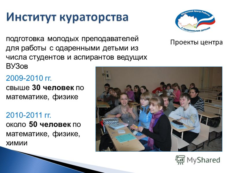 Проекты центра подготовка молодых преподавателей для работы с одаренными детьми из числа студентов и аспирантов ведущих ВУЗов 2009-2010 гг. свыше 30 человек по математике, физике 2010-2011 гг. около 50 человек по математике, физике, химии
