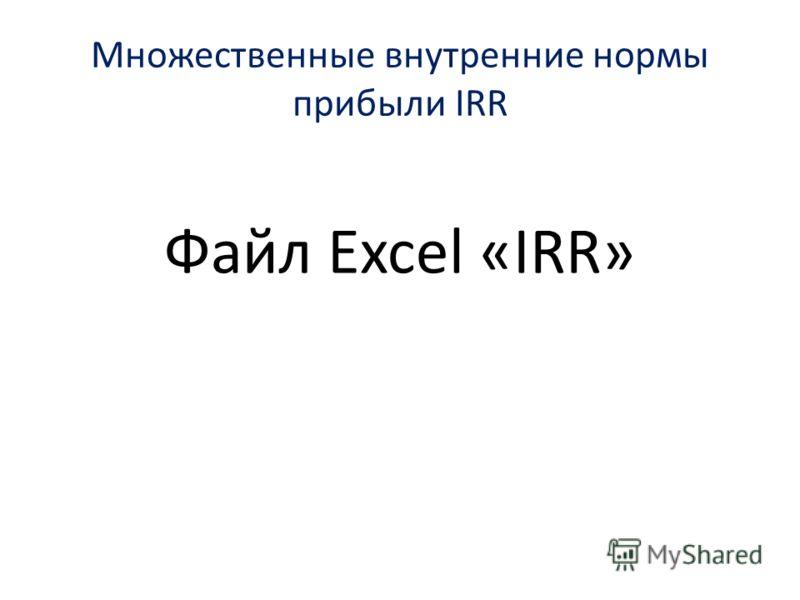 Множественные внутренние нормы прибыли IRR Файл Excel «IRR»
