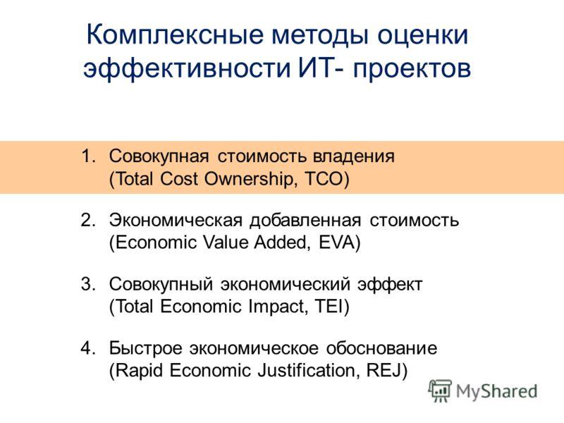 Комплексные методы оценки эффективности ИТ- проектов 1.Совокупная стоимость владения (Total Cost Ownership, ТСО) 2.Экономическая добавленная стоимость (Economic Value Added, EVA) 3.Совокупный экономический эффект (Total Economic Impact, TEI) 4.Быстро