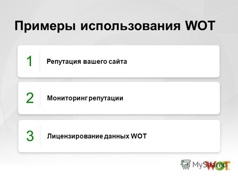 Примеры использования WOT Репутация вашего сайта 1 Мониторинг репутации 2 Лицензирование данных WOT 3