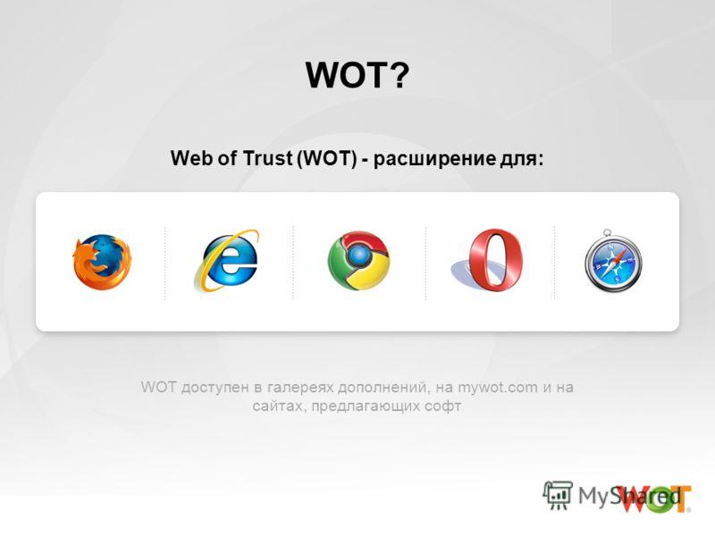 WOT? Web of Trust (WOT) - расширение для: WOT доступен в галереях дополнений, на mywot.com и на сайтах, предлагающих софт
