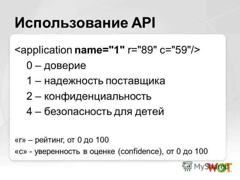 Использование API 0 – доверие 1 – надежность поставщика 2 – конфиденциальность 4 – безопасность для детей «r» – рейтинг, от 0 до 100 «с» - уверенность в оценке (confidence), от 0 до 100