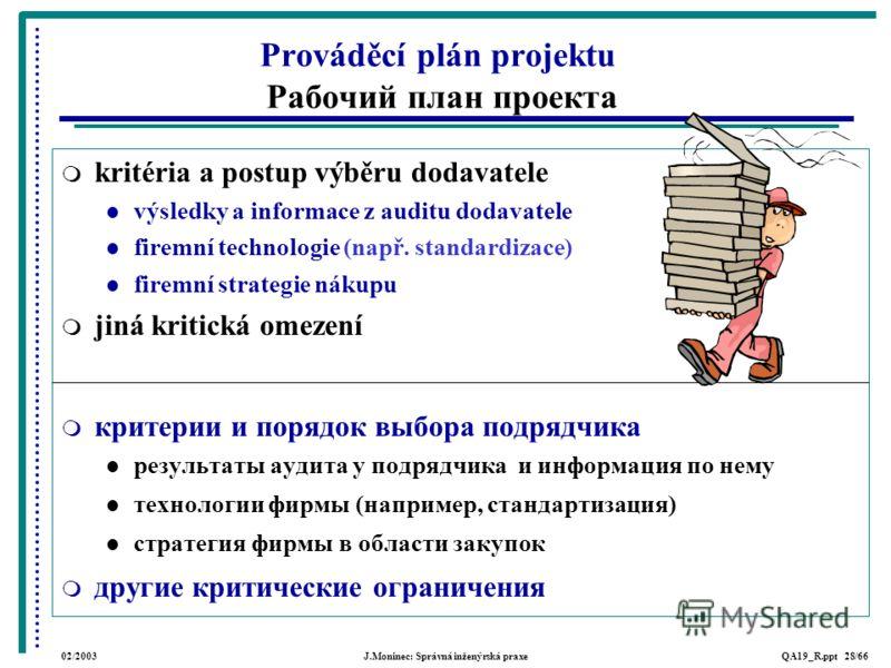 02/2003J.Moninec: Správná inženýrská praxeQA19_R.ppt 28/66 kritéria a postup výběru dodavatele výsledky a informace z auditu dodavatele firemní technologie (např. standardizace) firemní strategie nákupu jiná kritická omezení критерии и порядок выбора