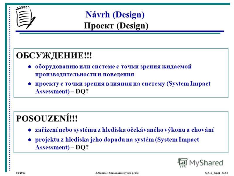 02/2003J.Moninec: Správná inženýrská praxeQA19_R.ppt 32/66 POSOUZENÍ!!! zařízení nebo systému z hlediska očekávaného výkonu a chování projektu z hlediska jeho dopadu na systém (System Impact Assessment) – DQ? Návrh (Design) Проект (Design) ОБСУЖДЕНИЕ
