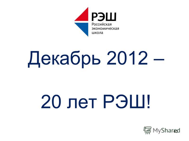 Декабрь 2012 – 20 лет РЭШ! 40