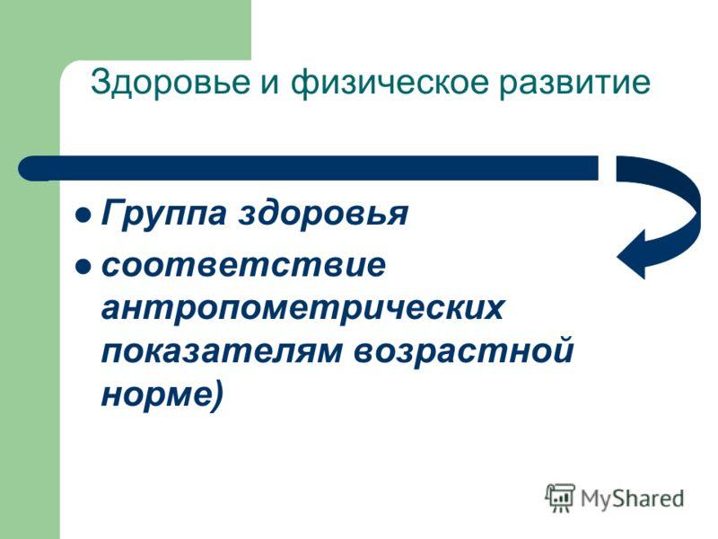 Здоровье и физическое развитие Группа здоровья соответствие антропометрических показателям возрастной норме)