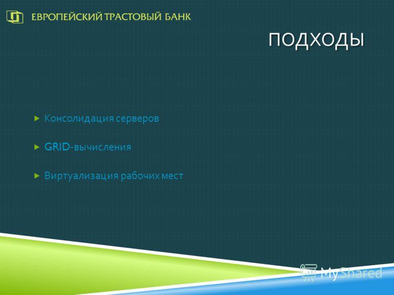 ПОДХОДЫ Консолидация серверов GRID- вычисления Виртуализация рабочих мест