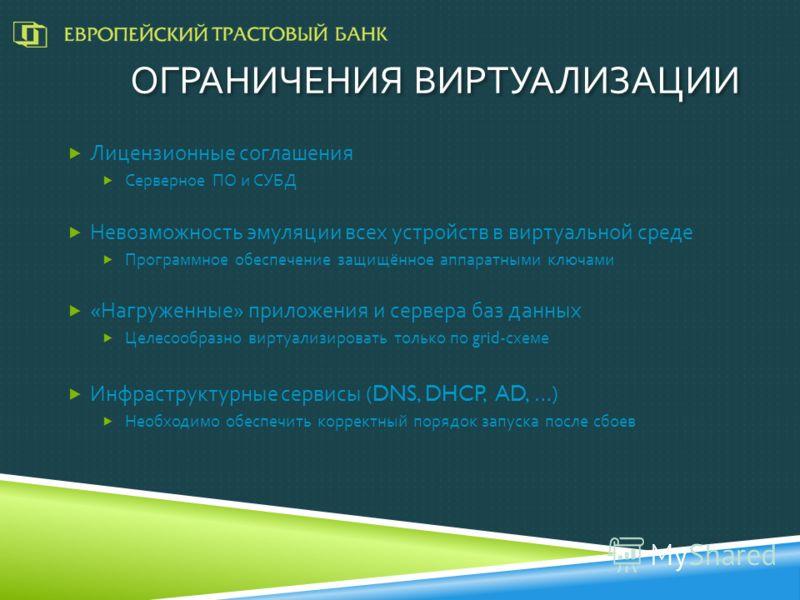 ОГРАНИЧЕНИЯ ВИРТУАЛИЗАЦИИ Лицензионные соглашения Серверное ПО и СУБД Невозможность эмуляции всех устройств в виртуальной среде Программное обеспечение защищённое аппаратными ключами « Нагруженные » приложения и сервера баз данных Целесообразно вирту