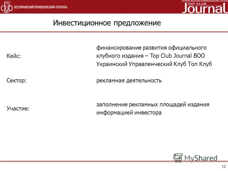 Инвестиционное предложение Кейс: финансирование развития официального клубного издания – Top Club Journal ВОО Украинский Управленческий Клуб Топ Клуб Сектор:рекламная деятельность Участие: заполнение рекламных площадей издания информацией инвестора 1