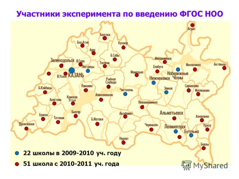 Участники эксперимента по введению ФГОС НОО 22 школы в 2009-2010 уч. году 51 школа с 2010-2011 уч. года