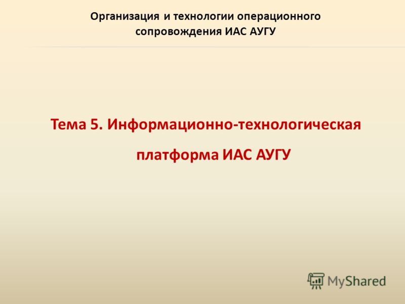 Организация и технологии операционного сопровождения ИАС АУГУ Тема 5. Информационно-технологическая платформа ИАС АУГУ