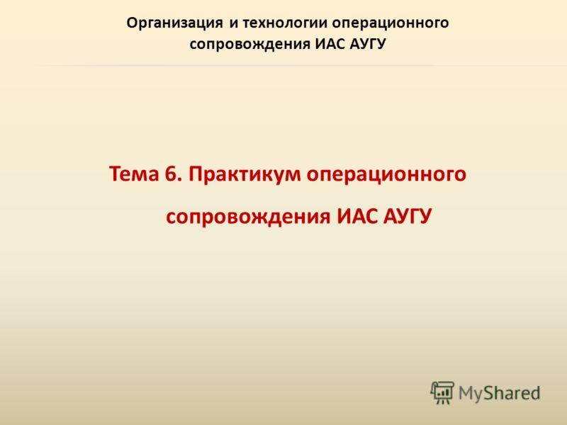 Организация и технологии операционного сопровождения ИАС АУГУ Тема 6. Практикум операционного сопровождения ИАС АУГУ