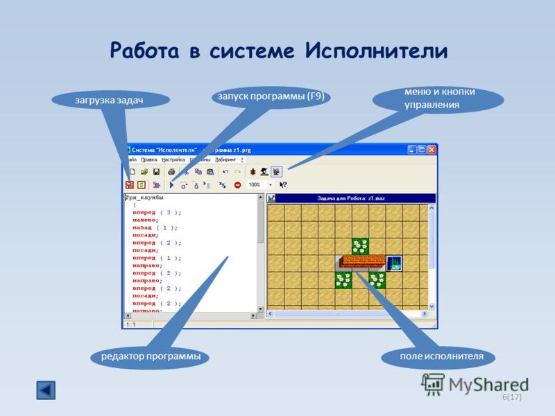 Работа в системе Исполнители меню и кнопки управления загрузка задач редактор программыполе исполнителя запуск программы (F9) 6(17)6(17)