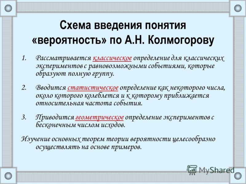 Схема введения понятия «вероятность» по А.Н. Колмогорову 1.Рассматривается классическое определение для классических экспериментов с равновозможными событиями, которые образуют полную группу. 2.Вводится статистическое определение как некоторого числа