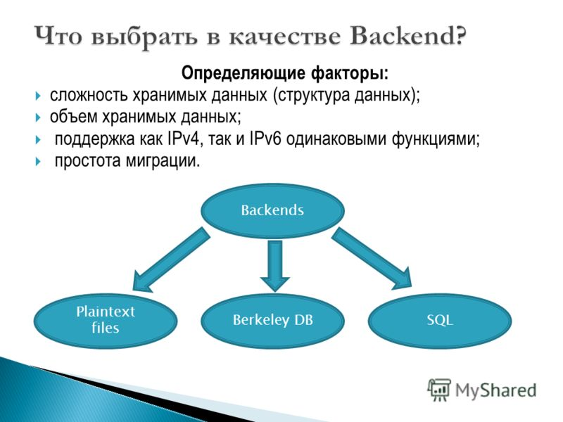 Определяющие факторы: сложность хранимых данных (структура данных); объем хранимых данных; поддержка как IPv4, так и IPv6 одинаковыми функциями; простота миграции. Backends Plaintext files Berkeley DBSQL