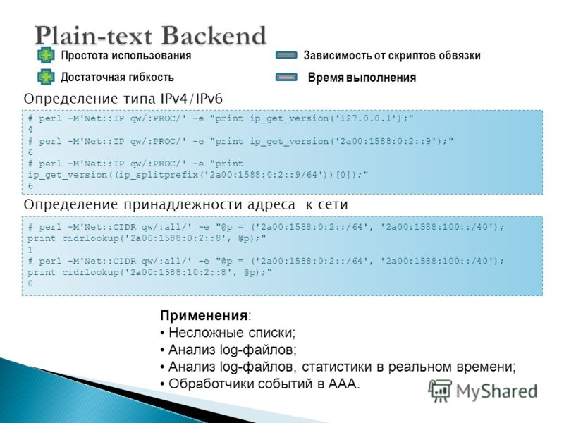 Простота использования # perl -M'Net::IP qw/:PROC/' -e