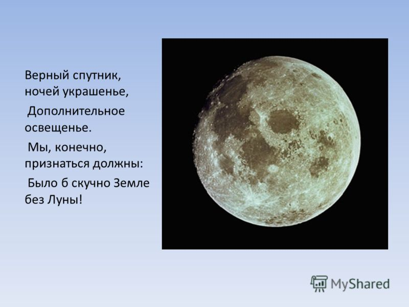 Верный спутник, ночей украшенье, Дополнительное освещенье. Мы, конечно, признаться должны: Было б скучно Земле без Луны!