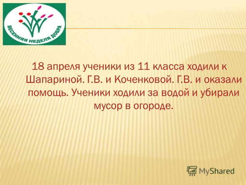 18 апреля ученики из 11 класса ходили к Шапариной. Г.В. и Коченковой. Г.В. и оказали помощь. Ученики ходили за водой и убирали мусор в огороде.