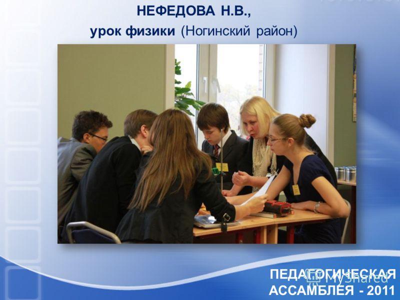 ПЕДАГОГИЧЕСКАЯ АССАМБЛЕЯ - 2011 НЕФЕДОВА Н.В., урок физики (Ногинский район)