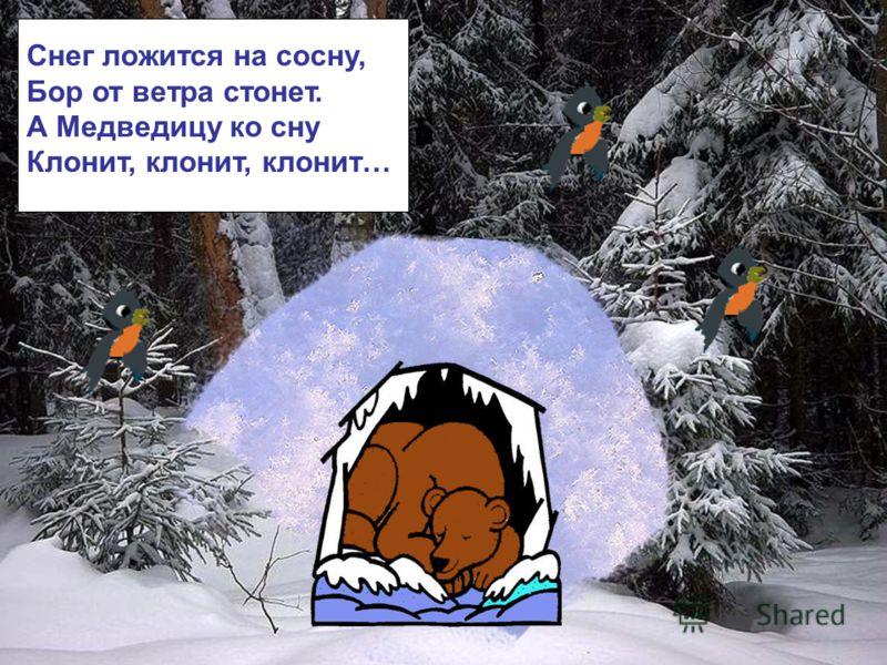 Снег ложится на сосну, Бор от ветра стонет. А Медведицу ко сну Клонит, клонит, клонит… Снег ложится на сосну, бор от ветра стонет. А медведицу ко сну клонит, клонит, клонит…