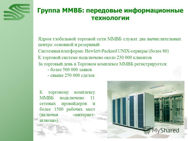 Ядром глобальной торговой сети ММВБ служат два вычислительных центра: основной и резервный Системная платформа: Hewlett-Packard UNIX-серверы (более 80) К торговой системе подключено около 230 000 клиентов За торговый день в Торговом комплексе ММВБ ре
