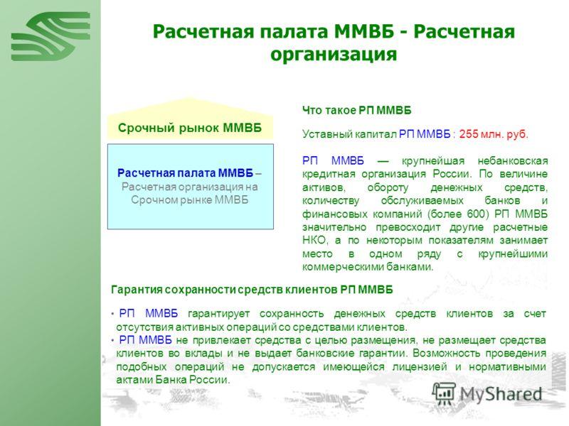 Срочный рынок ММВБ Расчетная палата ММВБ – Расчетная организация на Срочном рынке ММВБ Уставный капитал РП ММВБ : 255 млн. руб. РП ММВБ крупнейшая небанковская кредитная организация России. По величине активов, обороту денежных средств, количеству об