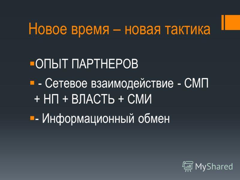 Новое время – новая тактика ОПЫТ ПАРТНЕРОВ - Сетевое взаимодействие - СМП + НП + ВЛАСТЬ + СМИ - Информационный обмен