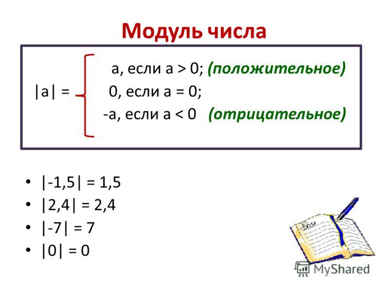 Модуль числа а, если а > 0; (положительное) |а| = 0, если а = 0; -а, если а < 0 (отрицательное) |-1,5| = 1,5 |2,4| = 2,4 |-7| = 7 |0| = 0