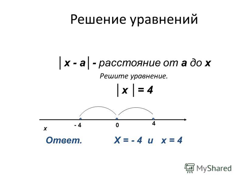 Решение уравнений х - а- расстояние от а до х Решите уравнение. х = 4 х 0- 4 4 Ответ. Х = - 4 и х = 4