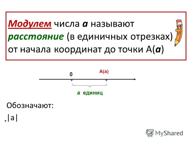 Модулем числа а называют расстояние (в единичных отрезках) от начала координат до точки А(а) Обозначают: |а| А(а) а единиц 0
